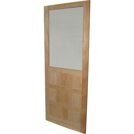 Snavely 32 In. W. x 80 In. H. x 1-1/8 In. Thick Stainable Natural Solid Pine Wood 9-Panel Screen Door