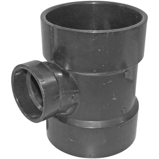 Charlotte Pipe 4 x 4 x 2 In. Hub x Hub x Hub Reducing Sanitary ABS Waste & Vent Tee