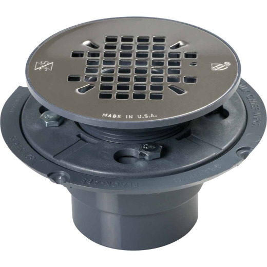 Sioux Chief 2 In. PVC Shower Drain with 4-1/4 In. Stainless Steel Snap-In Strainer
