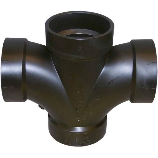Charlotte Pipe 2 In. All Hub Double Sanitary ABS Waste & Vent Tee