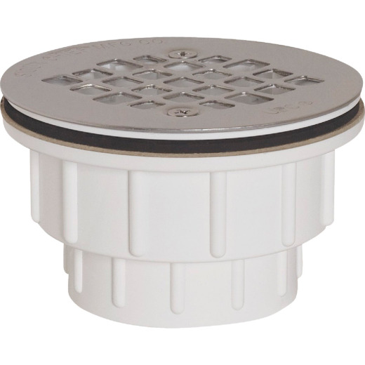 Sioux Chief 2 In. PVC Solvent Weld Shower Drain with 4-1/4 In. Stainless Steel Strainer