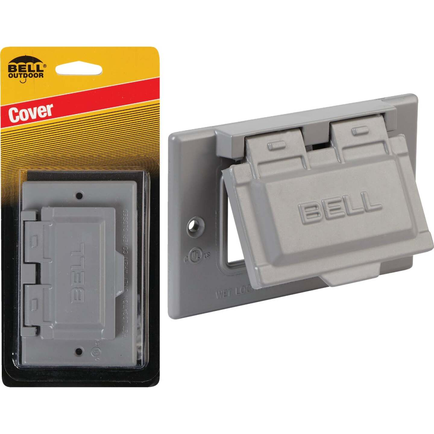 Bell Single Gang Horizontal GFCI Aluminum Gray Weatherproof Outdoor Electrical Cover Image 1