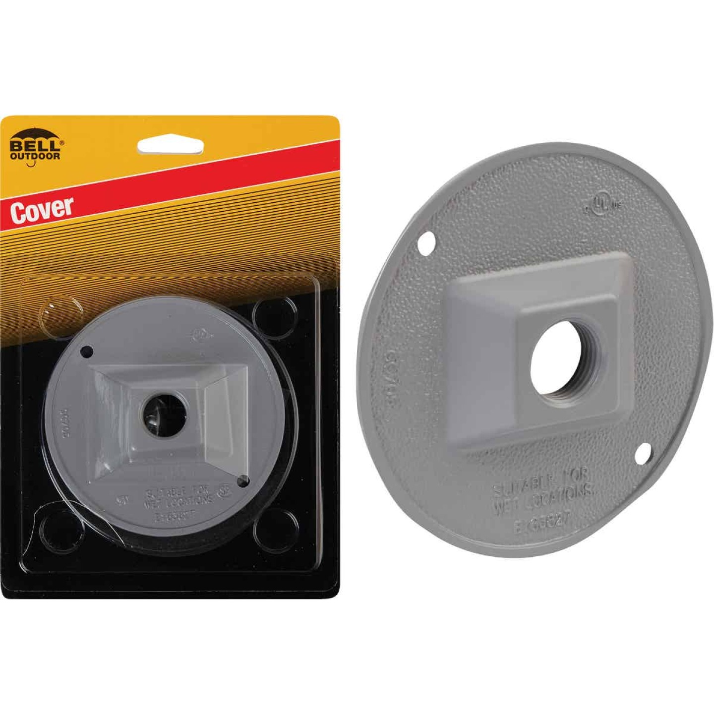 Bell 1-Outlet Round Zinc Gray Cluster Weatherproof Outdoor Electrical Cover, Carded Image 1