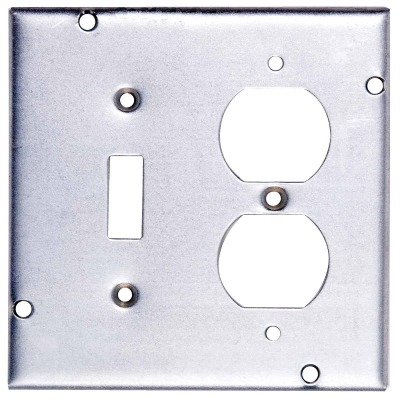 Steel City Switch/Outlet Combination 4-11/16 In. x 4-11/16 In. Square Device Cover