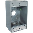 Bell Single Gang 1/2 In. 3-Outlet Gray Aluminum Weatherproof Outdoor Outlet Box, Carded Image 1