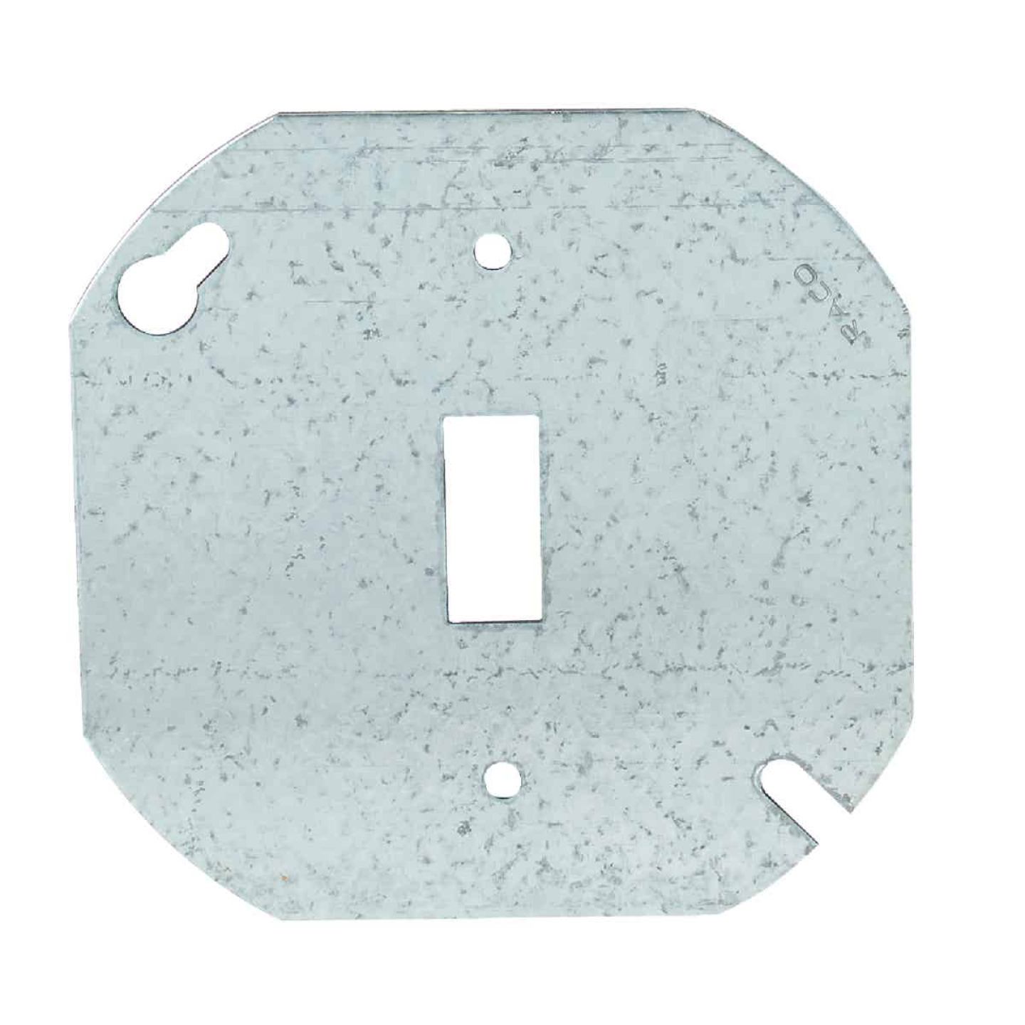 Hubbell 4 In. Single Toggle Switch Silver Round Box Cover Image 1