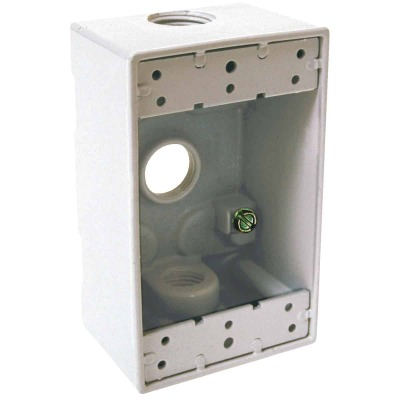 Bell Single Gang 1/2 In. 3-Outlet White Aluminum Weatherproof Outdoor Outlet Box, Carded