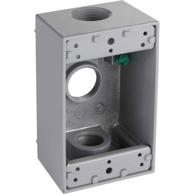 Bell Single Gang 3/4 In. 3-Outlet Gray Aluminum Weatherproof Outdoor Outlet Box