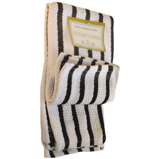 Gourmet Classics Black Stripe Kitchen Dish Cloth (2 Pack)
