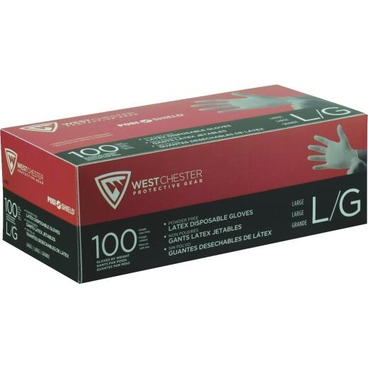 West Chester Protective Gear Posi Shield Large Industrial Grade Latex Disposable Glove (100-Pack)