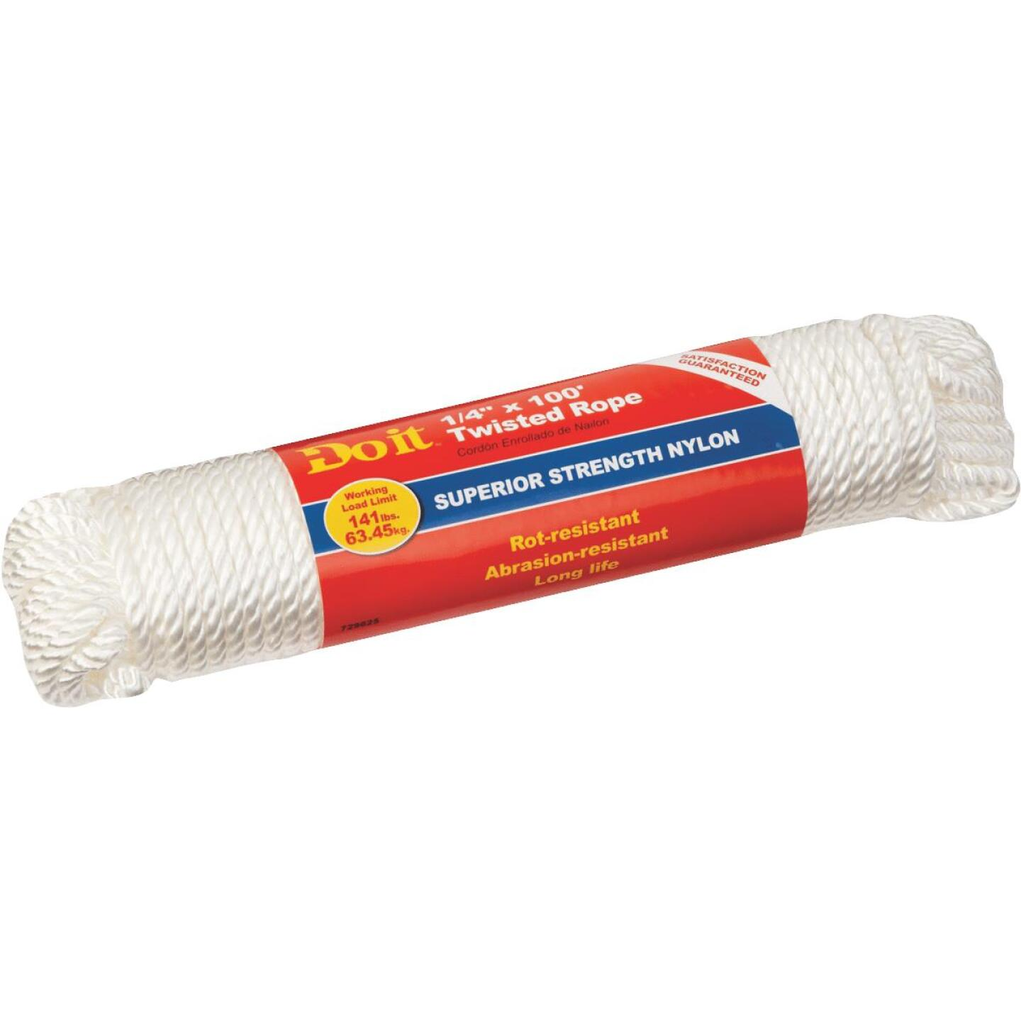 Do it 1/4 In. x 100 Ft. White Twisted Nylon Packaged Rope Image 1