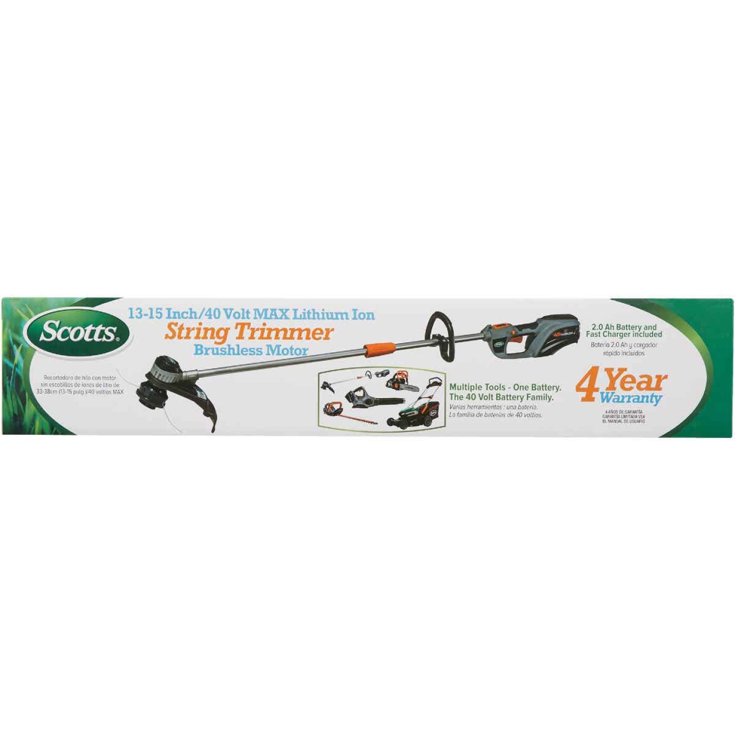 Scotts 15 In. 40 Volt Lithium Ion Cordless String Trimmer Image 2