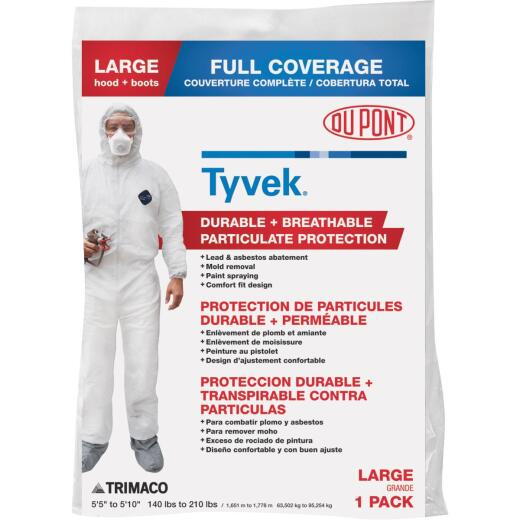 Dupont Tyvek Large Hooded Reusable Painter's Coveralls