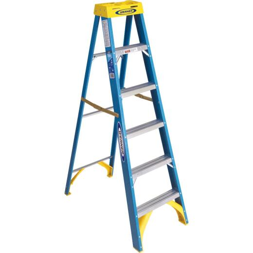 Werner 6 Ft. Fiberglass Step Ladder with 250 Lb. Load Capacity Type I Ladder Rating